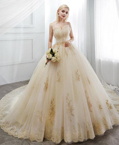 Champagne Tulle Lace Long Wedding Dress, Champagne Tulle Bridal Dress