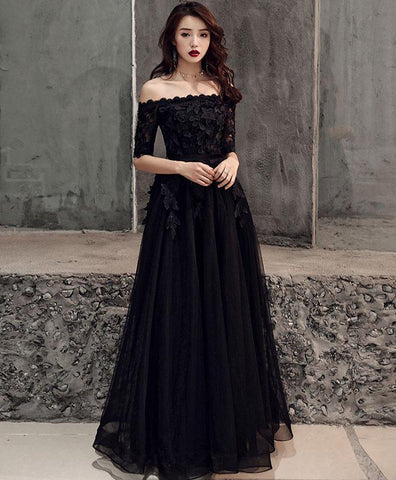 Elegant Black Tulle Lace Long Prom Dress, Black Tulle Evening Dress