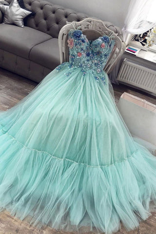 2021 green sweetheart tulle lace long prom dress green evening dress