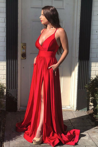 Simple red satin mermaid long prom dress red long formal dress
