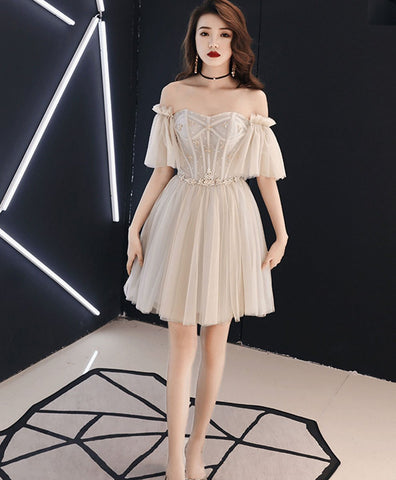 2021 Champagne tulle beads short prom dress tulle formal dress
