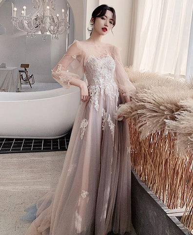 Beautiful Champagne Round Neck Tulle Lace Long Prom Dress Tulle Lace Evening Dress
