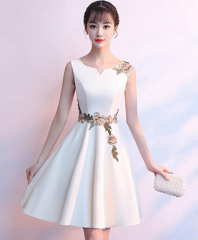 Simple white satin applique short prom dress, cute homecoming dress