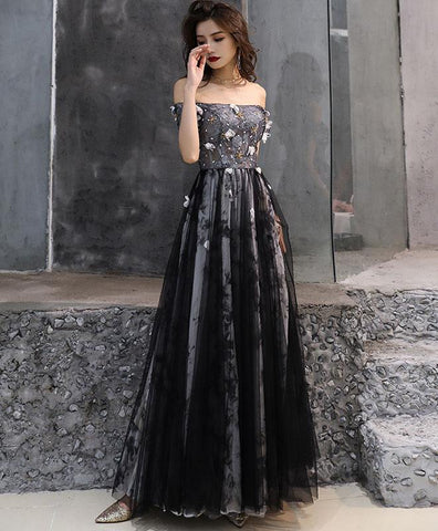 Black Tulle Lace Long Prom Dress, Black Tulle Evening Dress, Long Evening Gown