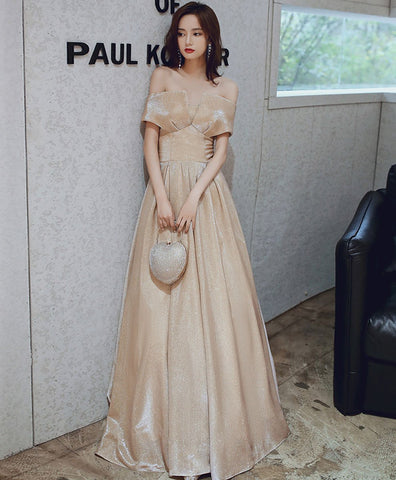 2021 Simple champagne satin long prom dress champagne evening dress
