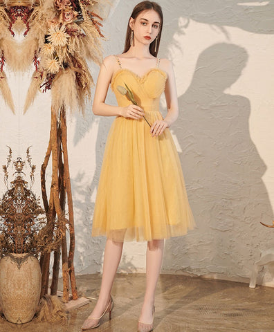 2021 Yellow sweetheart tulle short prom dress yellow formal dress