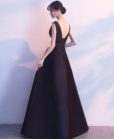 2019 Simple Black V Neck Satin Long Prom Dress, Black Bridesmaid Dress