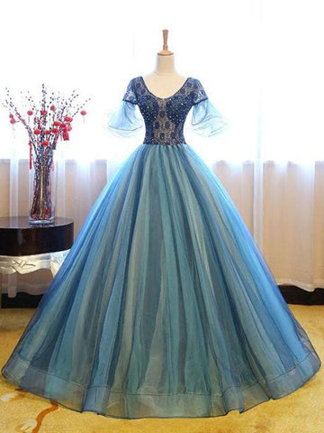 A-Line Round Neck Short Sleeves Ball Gown Organza Long Prom Dresses