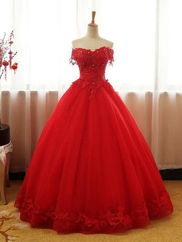 2019 New Design A-Line Red Ball Gown Tulle Off Shoulder Long Prom Dresses