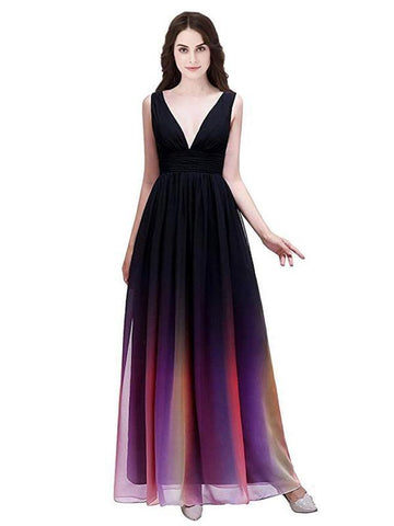 2019 A-Line Deep V-Neck Sleeveless Chiffon Long Prom Dresses