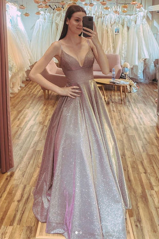 Gorgeous champagne v neck sequin long prom dress sequin formal dress