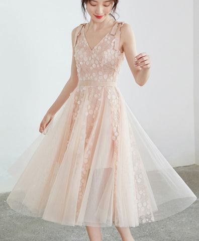 Cute Light pink tulle v neck lace short prom dress tulle lace formal dress