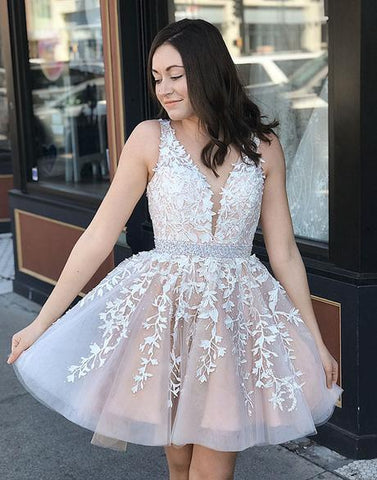 Champagne Lace Prom Dress For Teens, Lace Homecoming Dress