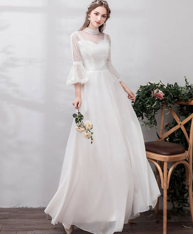 2020 White high neck tulle lace long prom dress bridesmaid dress