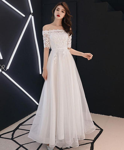 Elegant White Lace Tulle Long Prom Dress, White Tulle Lace Bridesmaid Dress