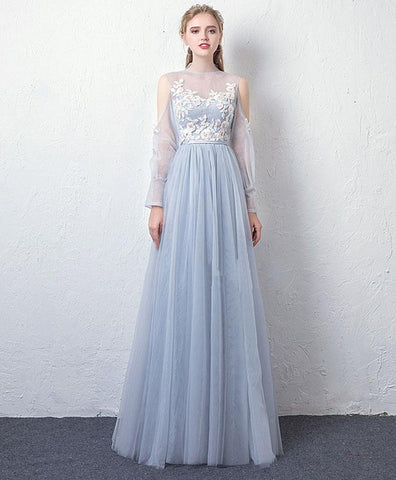 Gray Blue Tulle Lace Long Sleeve Prom Dress, Gray Blue Tulle Evening Dress