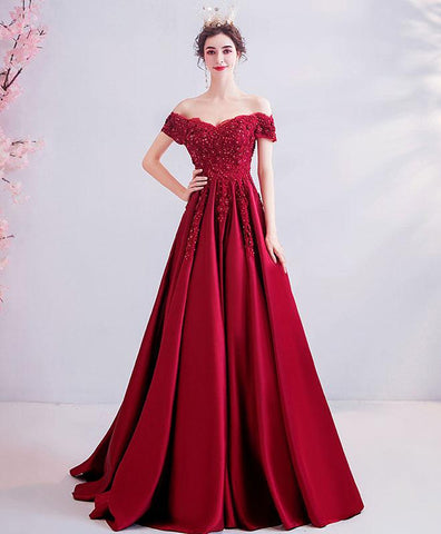 Elegant Burgundy Lace Satin Off Shoulder Prom Dress Burgundy Evening Dress
