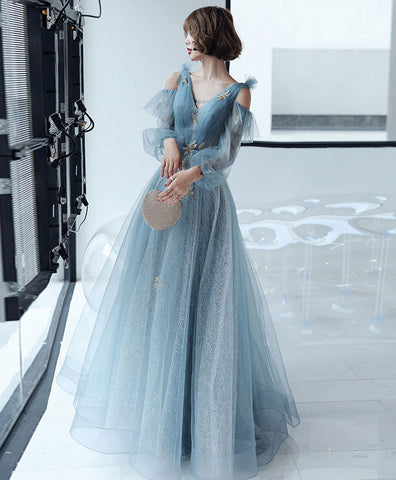 2020 Blue V Neck Tulle Lace Long Prom Dress Blue Lace Formal Dress