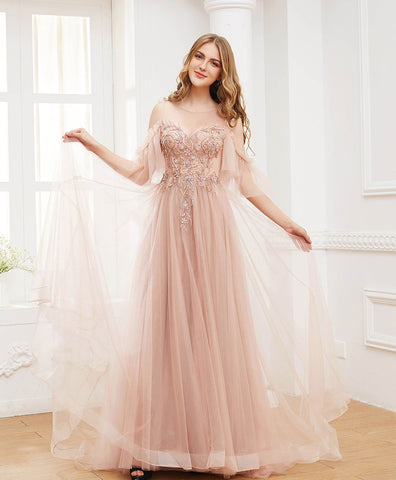 2021 Pink round neck tulle beads long prom dress formal dress