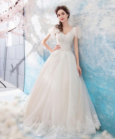 Light Champagne V Neck Tulle Lace Long Prom Dress, Light Champagne Wedding Dress