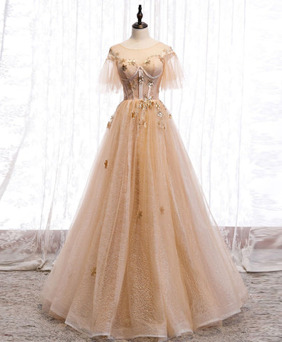 Cute Champagne round neck tulle lace long prom dress formal dress
