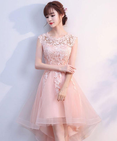 Cute Pink Tulle Lace High Low Prom Dress, Pink Homecoming Dress