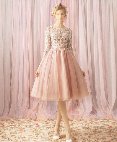 Cute Pink Round Neck Tulle Lace Short Prom Dress For Teens, Bridesmaid Dress