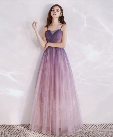 Simple Purple tulle long prom dress tulle long evening dress