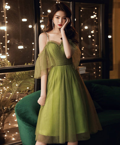 2021 Simple green tulle short prom dress green evening dress