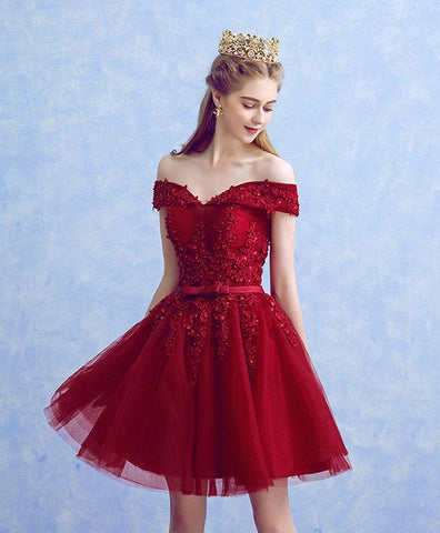 Burgundy Lace Tulle Short Prom Dress For Teens, Burgundy Lace Bridesmaid Dress