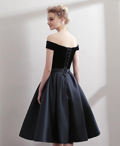 Black Satin Short Prom Dress For Teens, Black Homecoming Dress