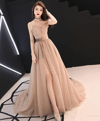Cute Champagne Tulle Long Prom Dress,  Champagne Tull Evening Dress