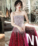 Sparkly Burgundy Sweetheart Tulle Sequin Long Prom Dress Burgundy Formal Dress