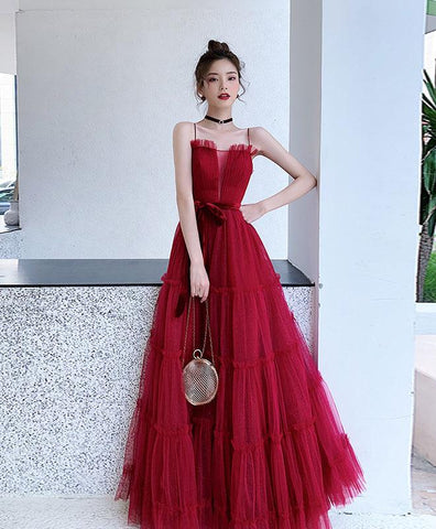 Simple Burgundy A-line Tulle Long Prom Dress Burgundy Tulle Formal Dress