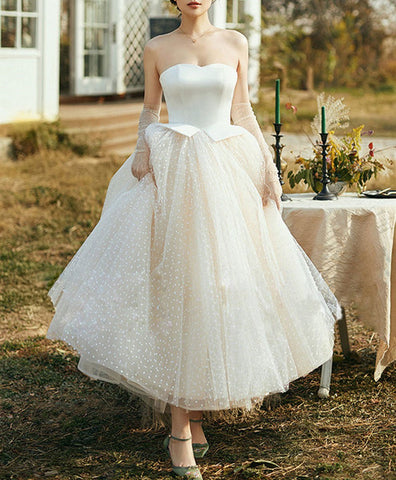 Elegant Champagne tulle Retro short  dress, tulle tea length prom dress