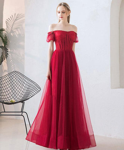 Burgundy Tulle Sweetheart Prom Dress, Cute Lace Long Prom Dress, Off Shoulder Evening Dress