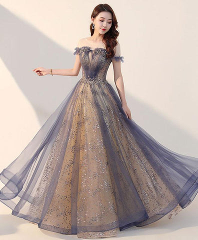 Elegant Tulle Long Prom Dress, Tulle Formal Dress For Teens