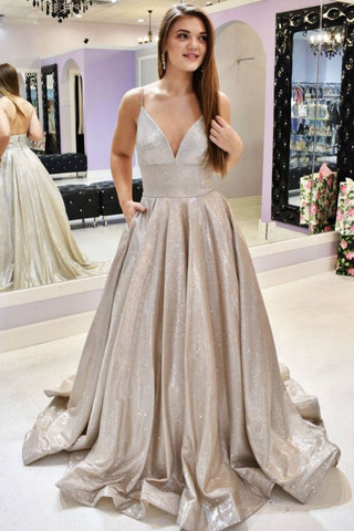 Simple Champagne v neck long prom dress champagne evening dress