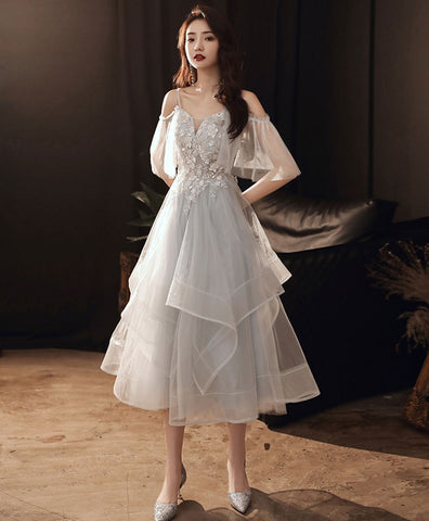 2021 Gray sweetheart tulle lace short prom dress gray homecoming dress