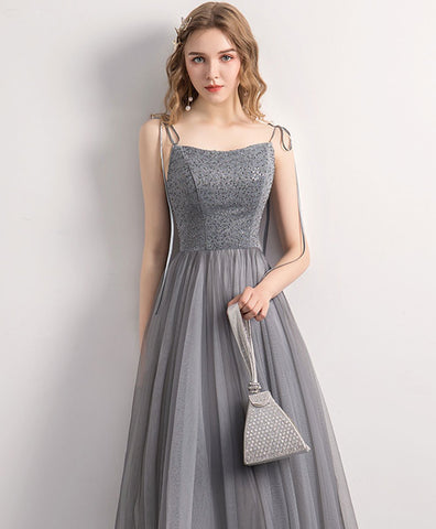 Shiny gray tulle sequin tea length prom dress gray tulle formal dress