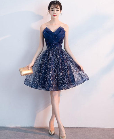 Dark blue tulle short prom dress, v neck homecoming dress