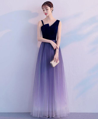 Unique design purple tulle ombre prom dress, long evening gown