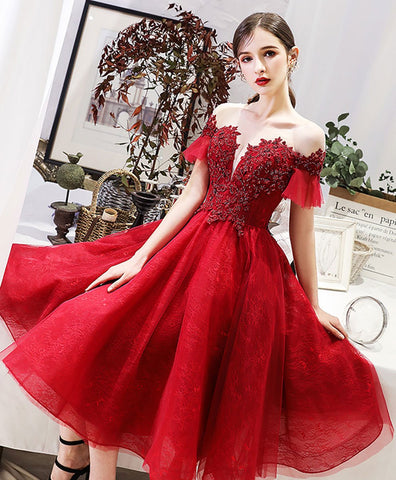 2020 Burgundy round neck tulle lace short prom dress bridesmaid dress