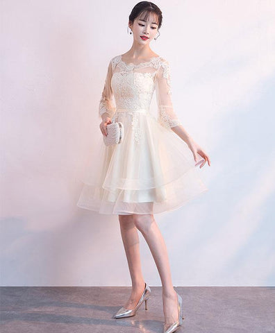 Champagne Tulle Lace Short Prom Dress For Teens, Champagne Homecoming Dress