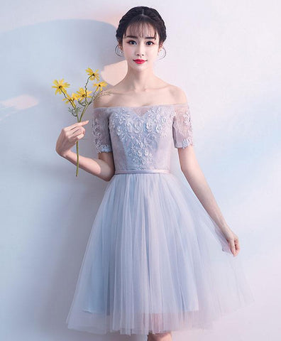 Cute Gray Tulle Lace Short Prom Dress Gray Tulle Homecoming Dress
