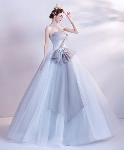 2021 new Gray tulle long prom gown gray tulle formal dress