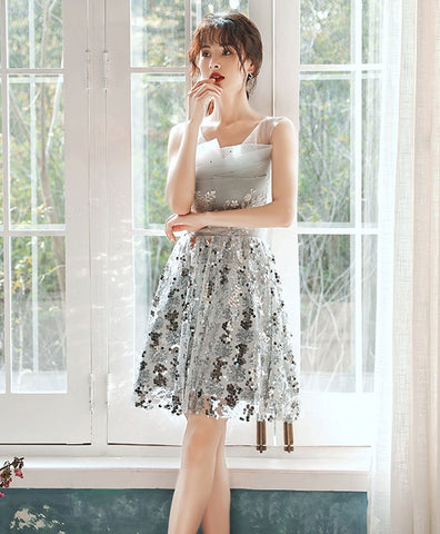 Fashion Gray tulle lace sequin short prom dress gray cocktail dress