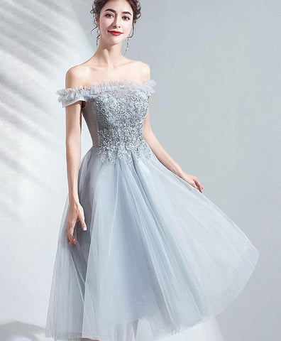 Cute Gray Tulle Short Prom Dress Gray Tulle Bridesmaid Dress