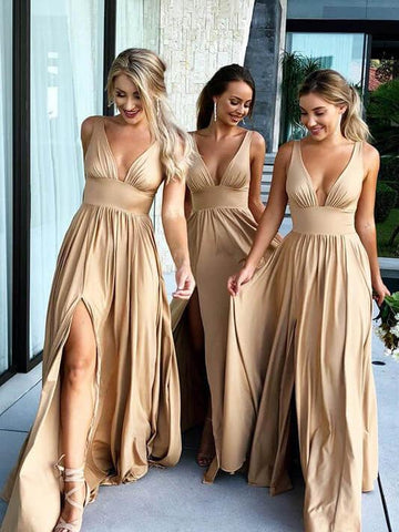 Simple A-line Straps Prom Dress Simple Cheap Long Prom Dresses Bridesmaid Dress