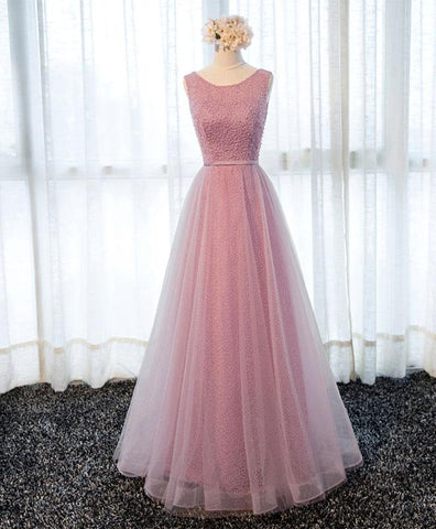 Pink lace scoop neck long prom dress, long tulle bridesmaid dress